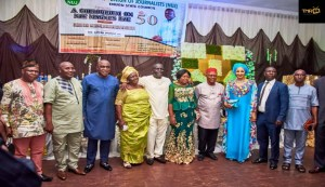 Emeka Nwosu, 1st right; Bianca Ojukwu, 3rd right; Anyim Udeh, 4th right; Obiora Okonkwo, 3rd left among other participants in the event