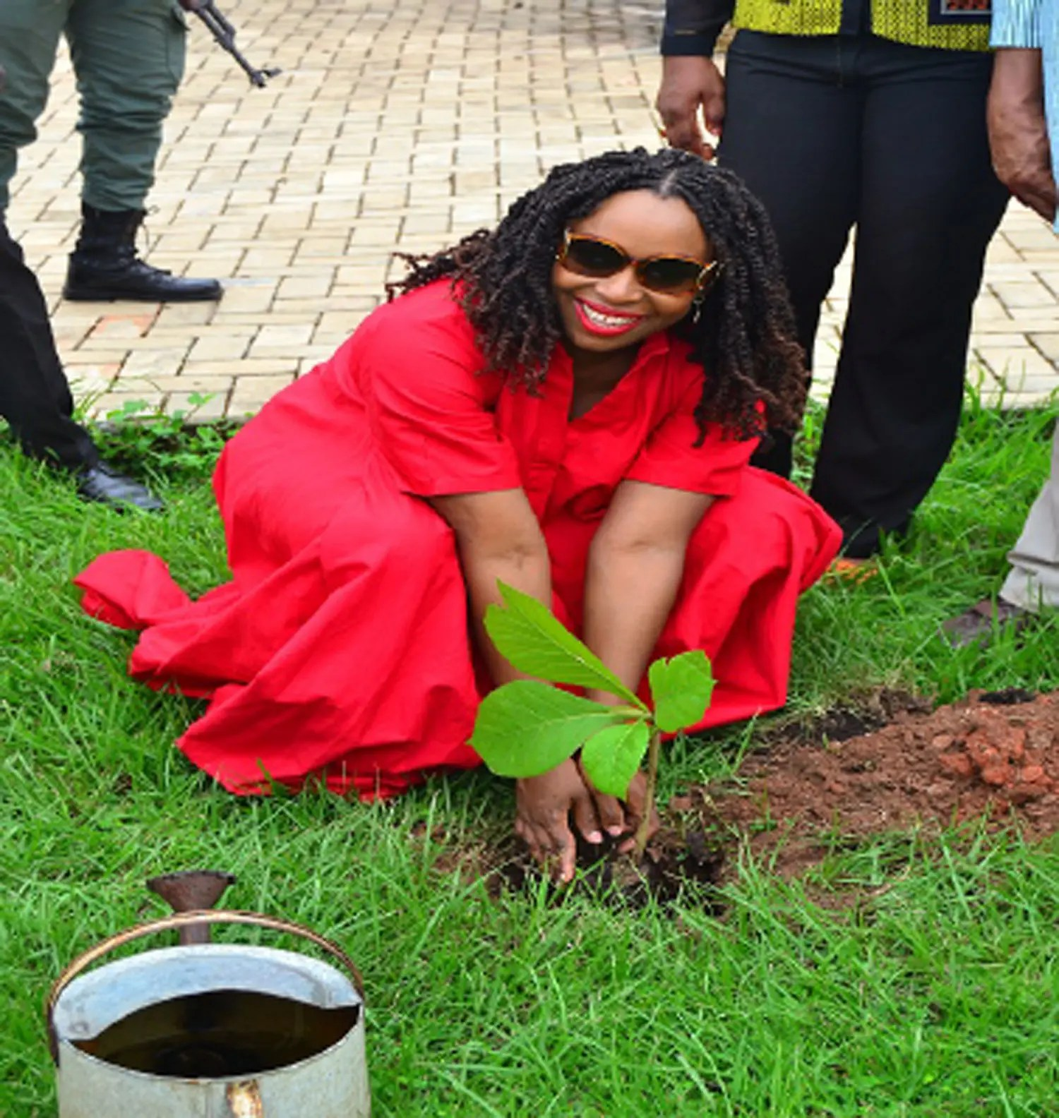 Jibunoh pulls Chimamanda Adichie to plant tree in Asaba - Vanguard News - Vanguard