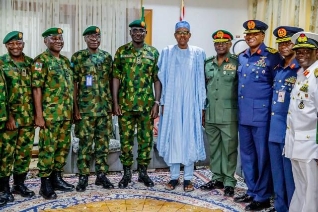 President Buhari receives Service Chiefs in Salah