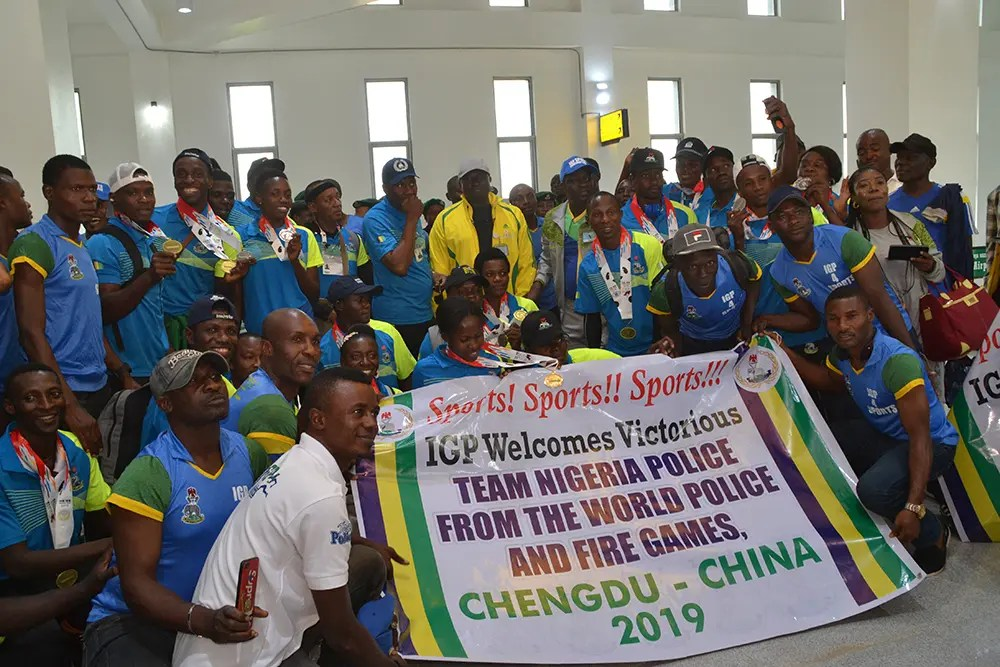 PHOTOS: Nigeria contingent that won 23 medals at World Police and Fire games arrives