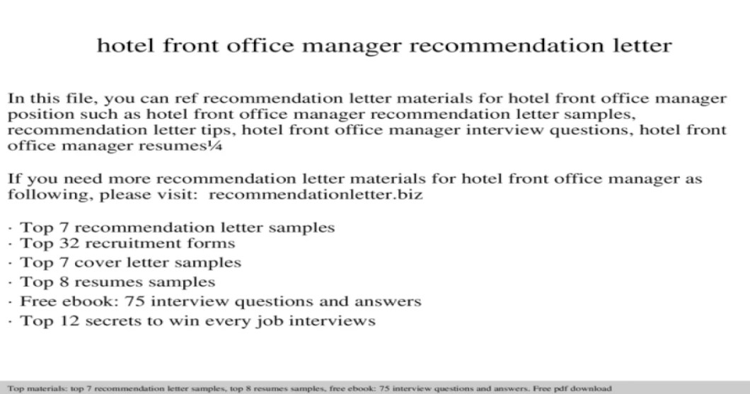 letter of recommendation for office manager position inviletter co