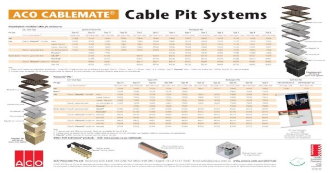 Aco Cablemate Cable Pit Moulded Cable Pit Enclosures Lid Cover Type Square Circular Pits Rectangular Pits Pit Type Type 43 Type 55 Type 77 Type 53 Type 1 Type 2 Type 3 Type 4 Type Pdf Document