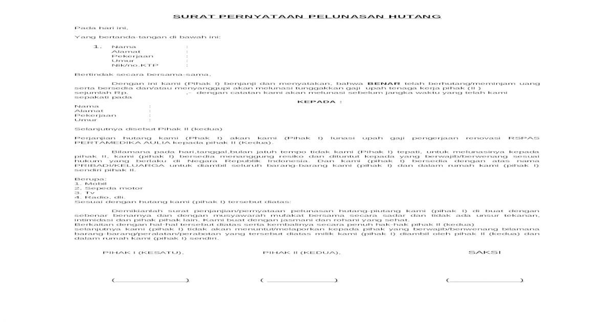 18 Contoh Surat Pernyataan Pelunasan Hutang Pribadi