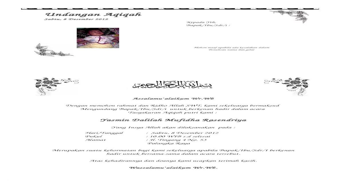 Contoh Surat Undangan Aqiqah Docx Document