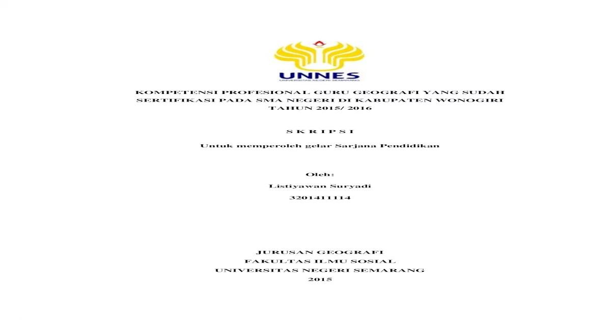 Contoh Cover Proposal Skripsi Unnes