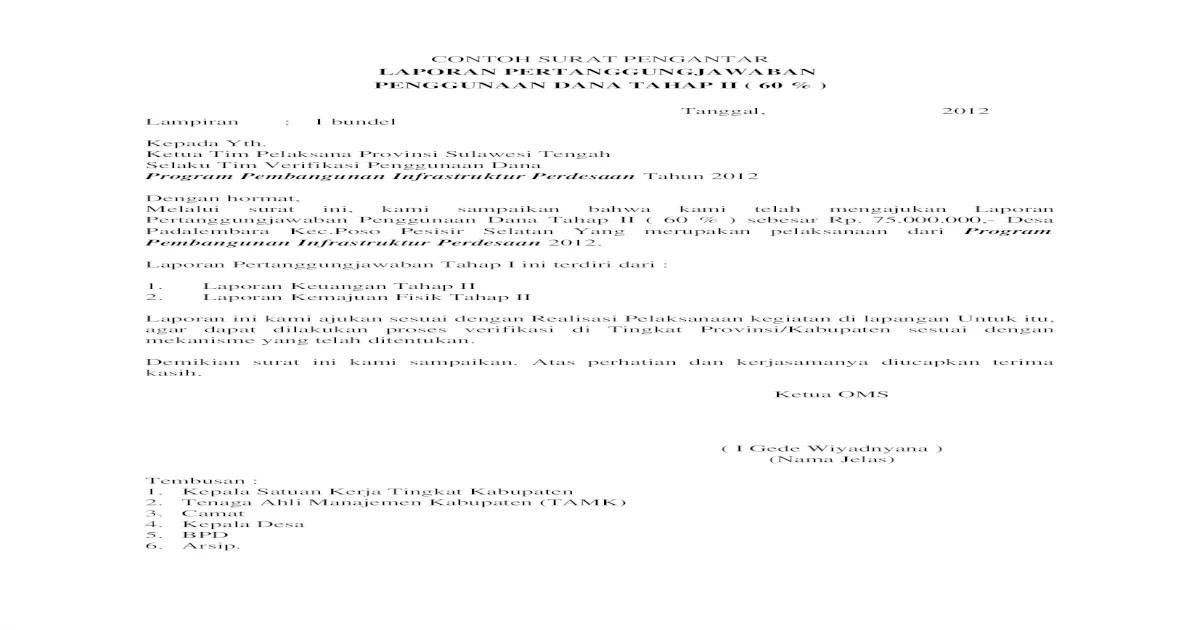 18 Contoh Surat Pengantar Laporan Pertanggungjawaban Keuangan