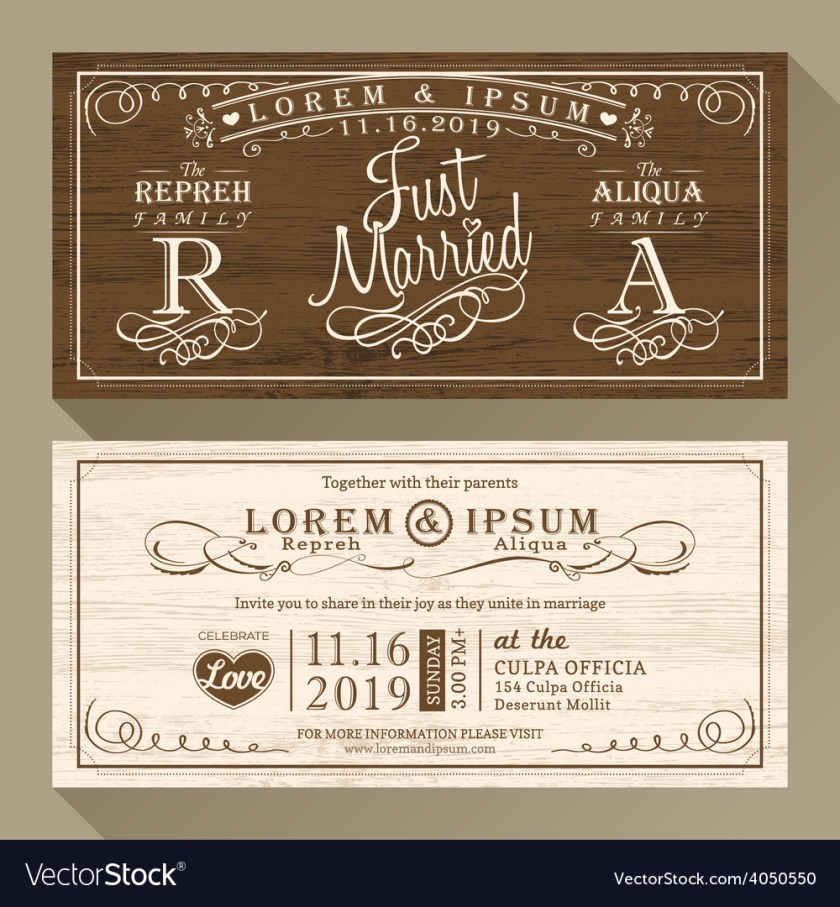Vine Wedding Invitation Card Border And Frame Vector Image