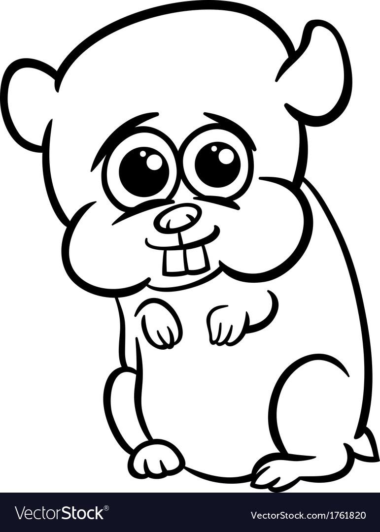 Baby Hamster Cartoon Coloring Page Royalty Free Vector Image