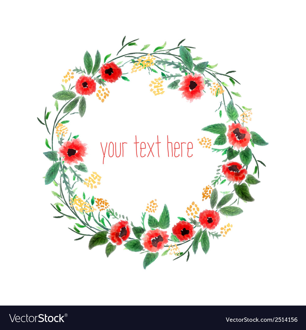 Watercolor Wreath With Flowers Royalty Free Vector Image