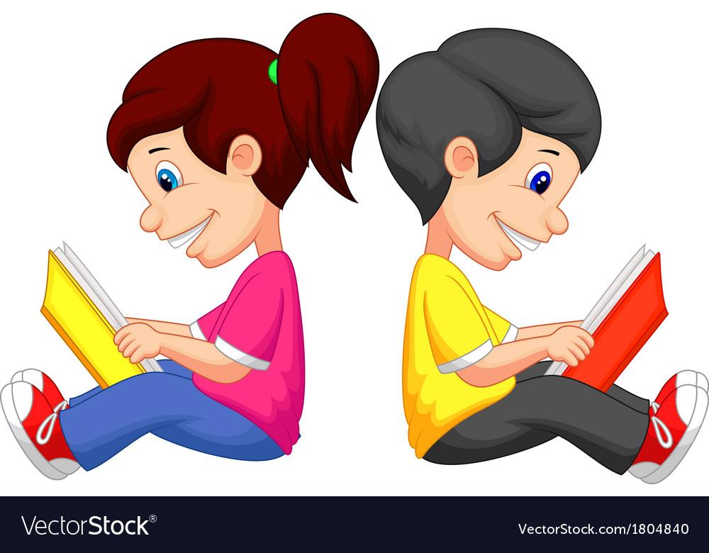 Cartoon Boy And Girl Reading Book Royalty Free Vector Image
