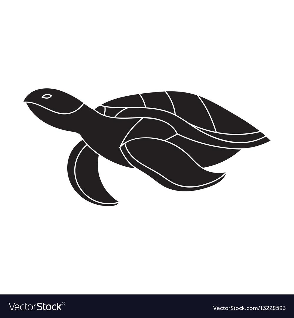 White Vector And Turtle Sea Black