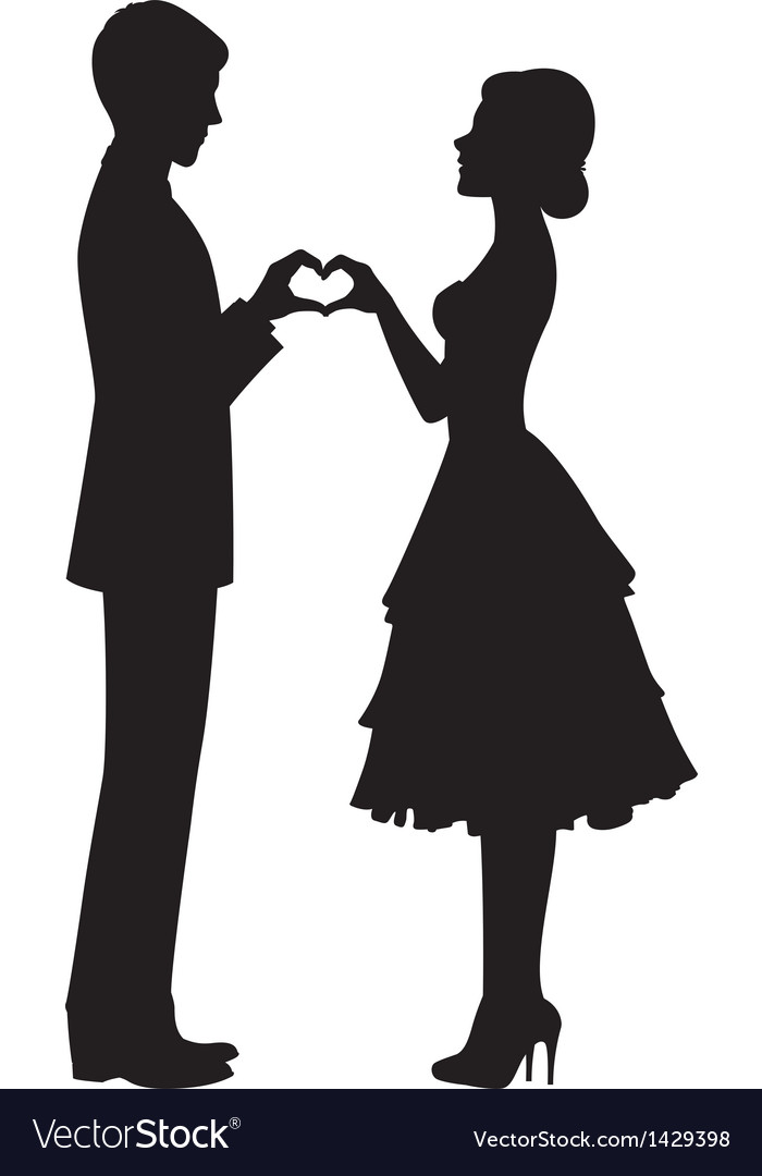 Silhouette Of Bride And Groom Royalty Free Vector Image
