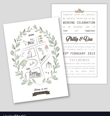 Handdrawn Map On Letterpress Wedding Directions Card