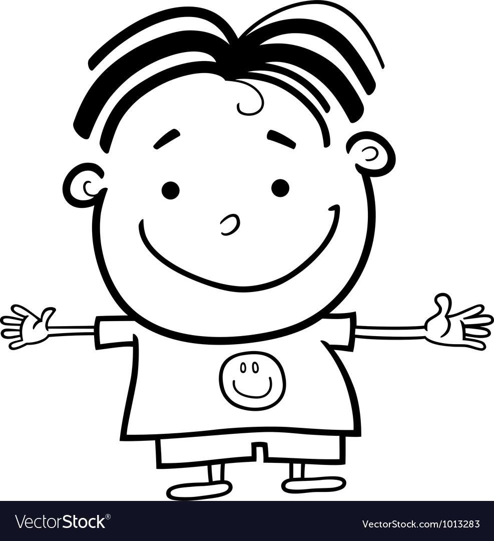 cute little happy boy for coloring vector by igor zakowski image