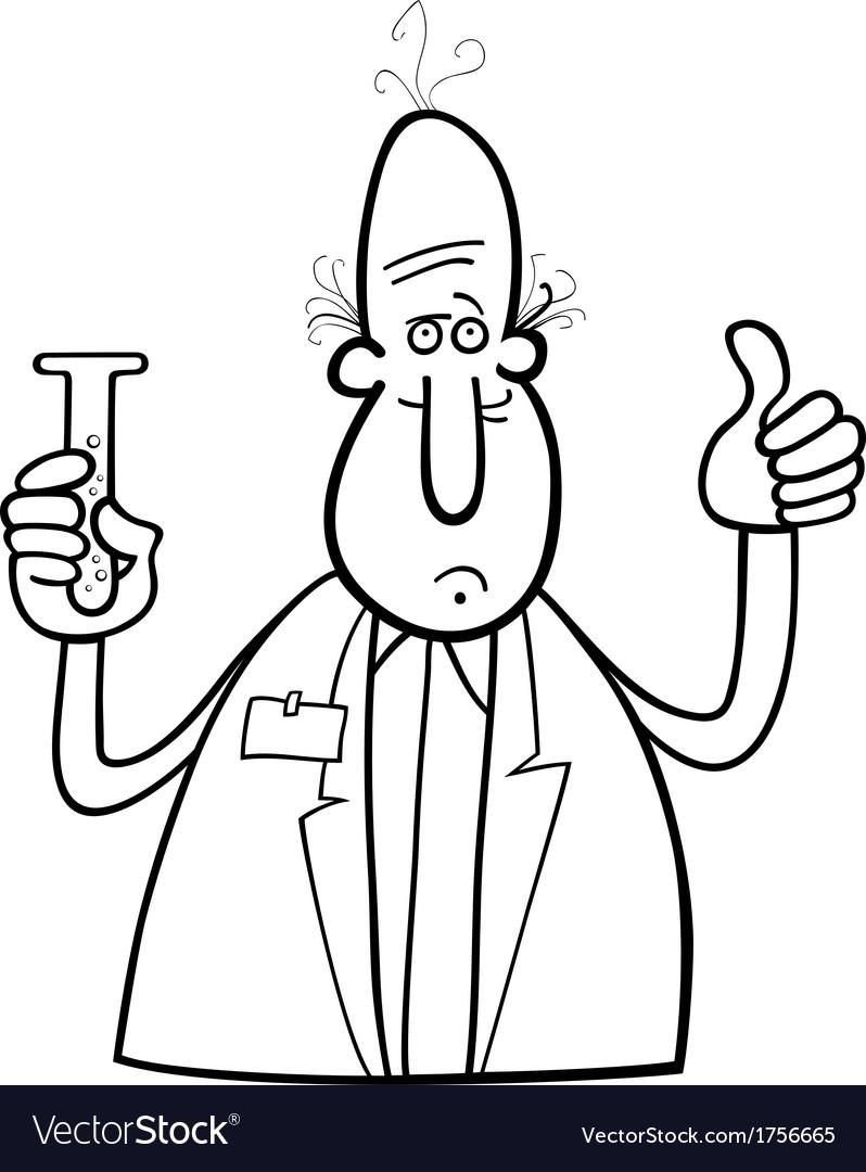 scientist with vial vector