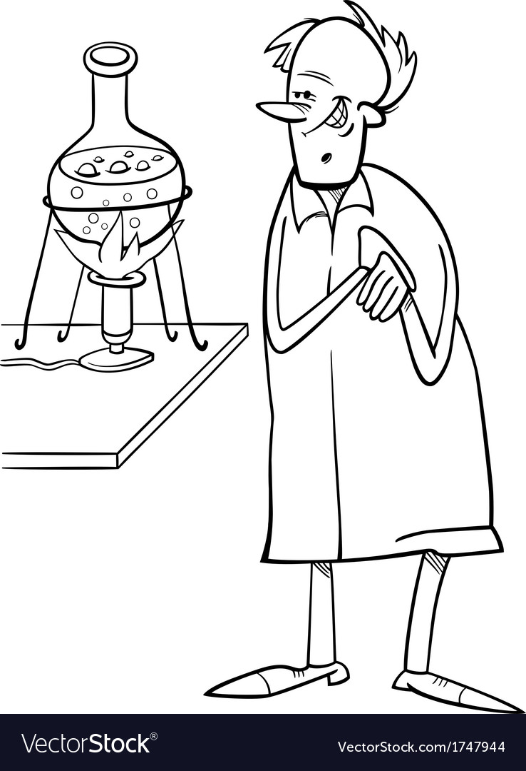 scientist in laboratory coloring page vector by igor zakowski