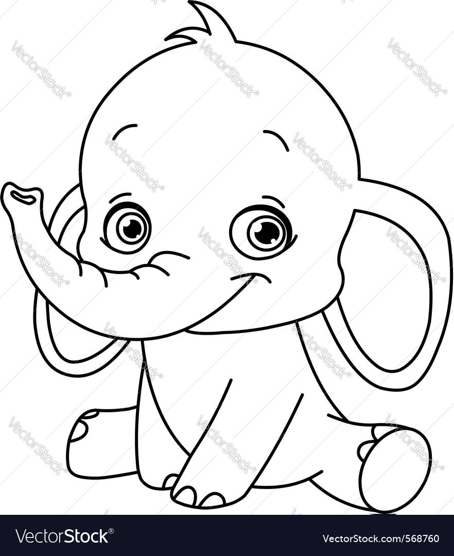 outlined baby elephant vector art download elephant vectors 568760