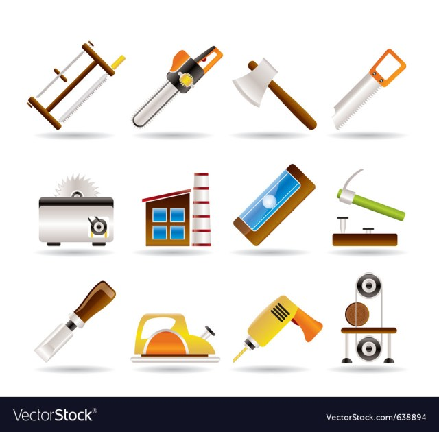 Woodworking industry and woodworking tools icons vector