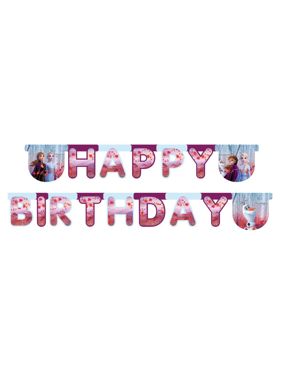 Disney Frozen 2 Happy Birthday Girlande Raumdeko Bunt 200 X 16cm Partydeko Und Gunstige Faschingskostume Vegaoo