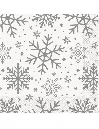 16 Tovaglioli Di Carta Fiocchi Di Neve Bianchi E Argento