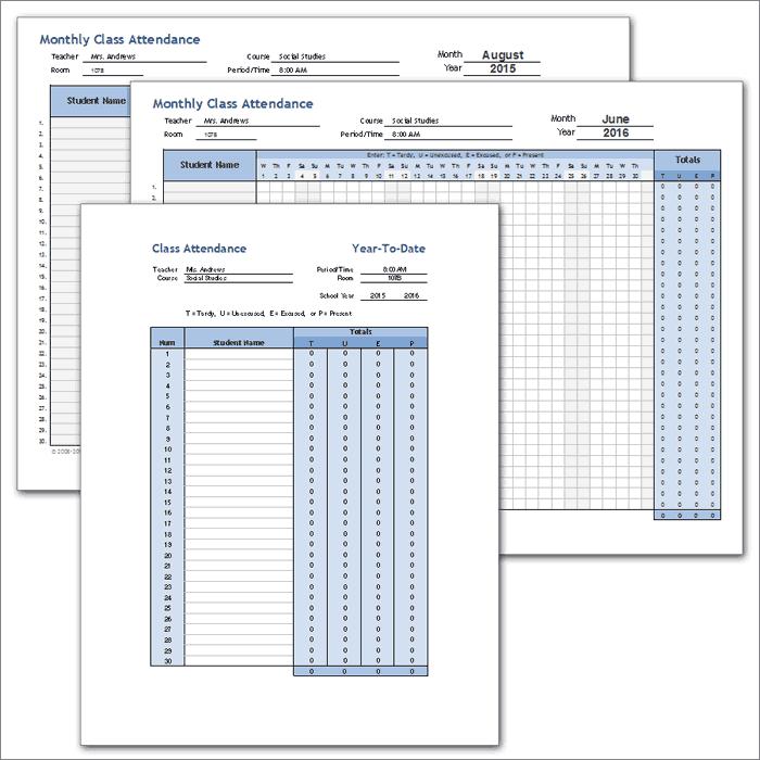 Weekly Attendance Template sheet class attendance template full – Weekly Attendance Sheet Template