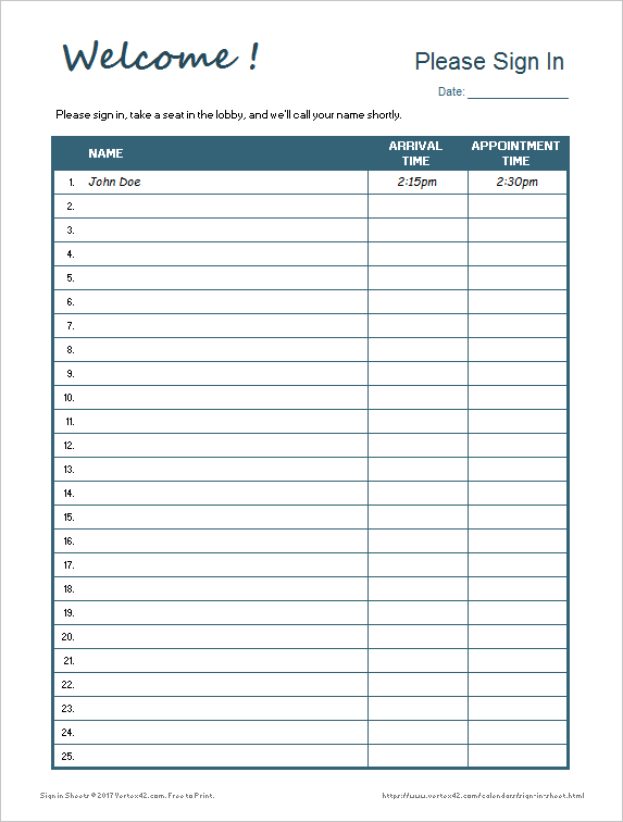 sign in sheet business forms pinterest