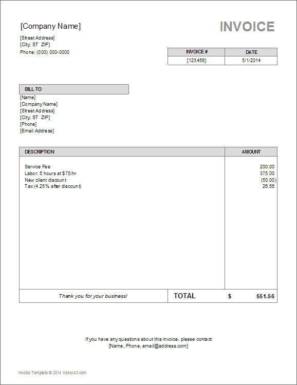 Writing Invoice Template. Printable Invoices Example Letter Editor