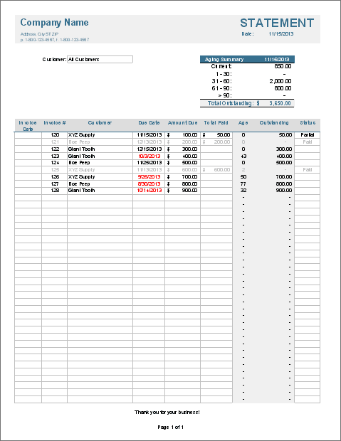 Free Invoice Tracking Template For Excel