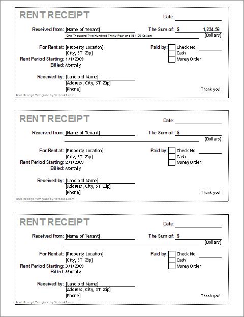 Rent Payment Receipt Free Download