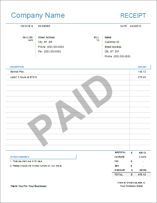 School Receipt Template sample of invoices letter of eviction – Fee Receipt Format