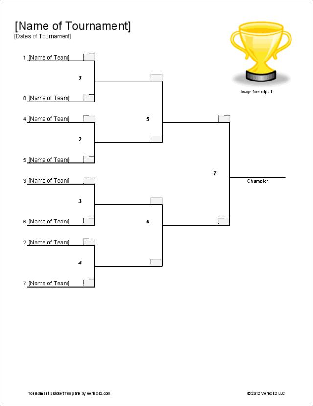 Single Elimination Tournament Bracket