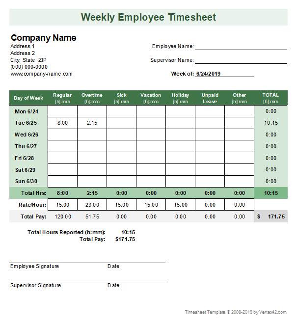 Timesheet Template Free Simple Time Sheet For Excel