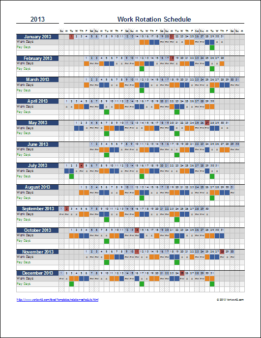 Rolling Rota Template. employee scheduling example 8 hr shifts 24 ...