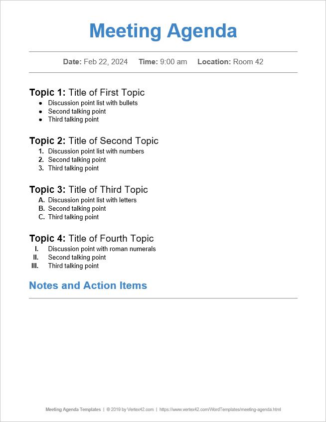 10 Free Meeting Agenda Templates Word And Google Docs