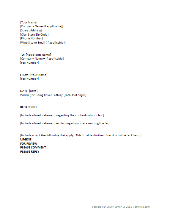 fax cover letter template for word