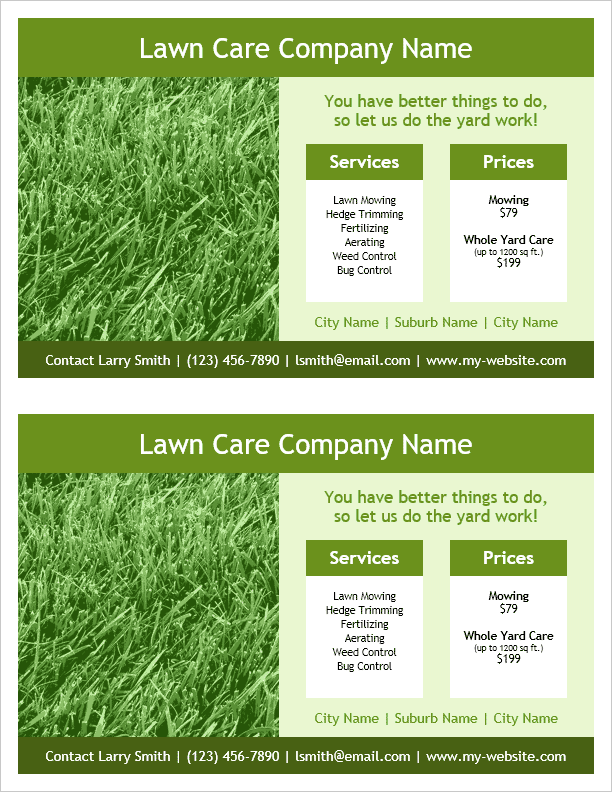 lawn care templates. proposal template sample 7 sample business, Invoice templates