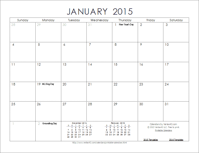 february calendar 2015 template free printable blank printable