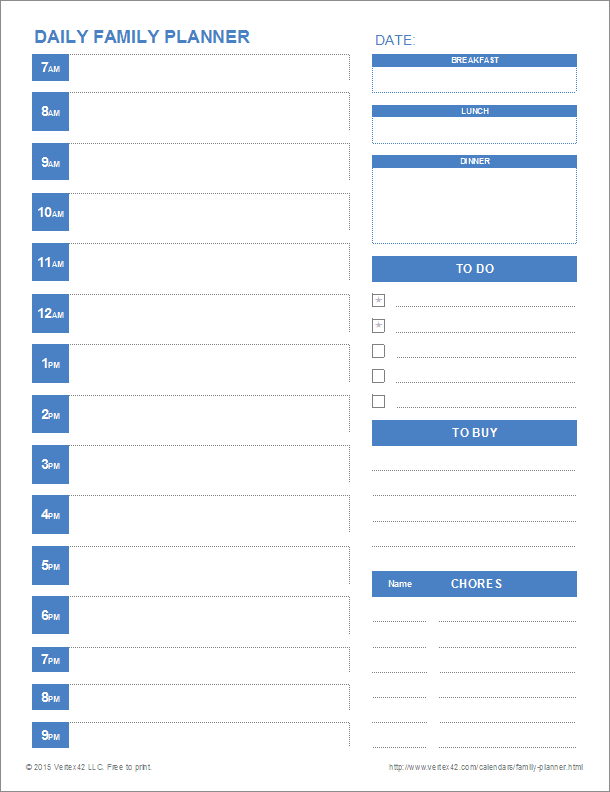 Daily Planner Excel Template printable family planner templates – Daily Planner Sample