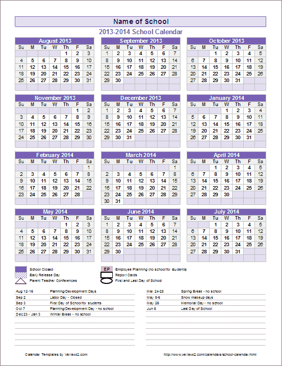 school calendar template 2018 2019 year