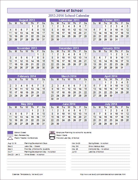 school calendar template 2018 2019 year