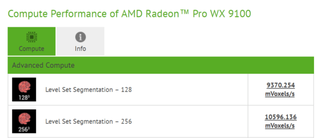 AMD Radeon TM Pro WX 9100 performance in CompuBench 1000x430 Radeon Pro WX 9100 is AMDs next Vega based professional graphics card