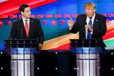 HOUSTON, TX - FEBRUARY 25:  Donald Trump (R) and Sen. Marco Rubio (R-FL) participate in the Republican presidential debate at the Moores School of Music at the University of Houston on February 25, 2016 in Houston, Texas. The debate is the last before the March 1 Super Tuesday primaries.  (Photo by Michael Ciaglo-Pool/Getty Images )