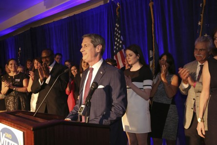 Louisiana gubernatorial candidate Sen. David Vitter, R-La., reacts to the crowd during his election night watch party in Kenner, La., Saturday, Nov. 21, 2015. (AP Photo/Max Becherer)