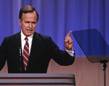 Bush accepts the GOP nomination at the 1988 convention. (Arnie Sachs/AP Images File Photo)