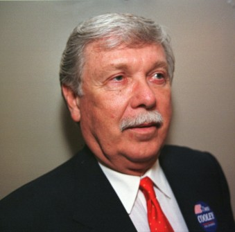 Former Rep. Wes Cooley, 66, of Powell Butte, Ore., shown April 23, 1998, is among the four candidates in the Republican primary for Oregon's 2nd Congressional District. (AP File Photo)
