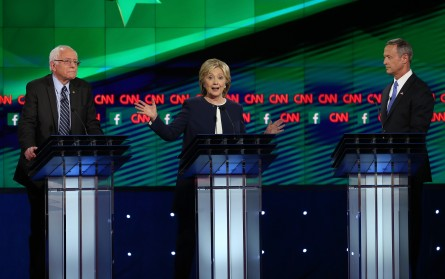 LAS VEGAS, NV - OCTOBER 13:  (L-R) Democratic presidential candidates U.S. Sen. Bernie Sanders (I-VT), Hillary Clinton and Martin O'Malley take part in a presidential debate sponsored by CNN and Facebook at Wynn Las Vegas on October 13, 2015 in Las Vegas, Nevada. Five Democratic presidential candidates are participating in the party's first presidential debate.  (Photo by Joe Raedle/Getty Images)
