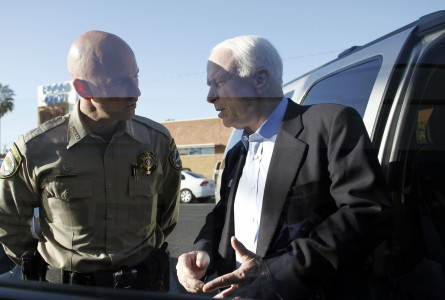 Babeu, pictured with Sen. John McCain, has drawn national attention for his efforts against illegal immigration. (Joshua Lott/Getty Images File Photo)
