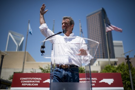 Brannon speaks during his campaign rally at the NASCAR Hall of Fame in Charlotte on Monday. (Bill Clark/CQ Roll Call)