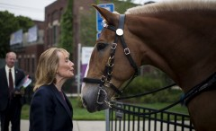 Hassan ignored a question from CQ Roll Call about her 2016 plans to greet two mounted police officers in Dover, N.H. (Bill Clark/CQ Roll Call)