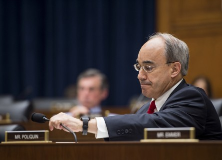 Poliquin hasn't announced an official position on the bank. Above, he participates in the House Financial Services Committee on the bank in June. (Bill Clark/CQ Roll Call File Photo)